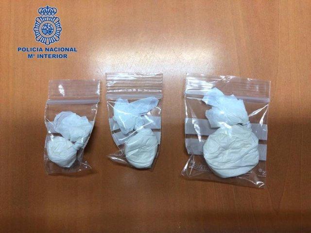 Droga intervenida por la Policía Nacional en una detención en Tudela.