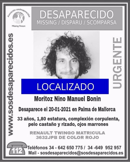 Localizan al joven de 33 años desaparecido desde el pasado miércoles en Palma