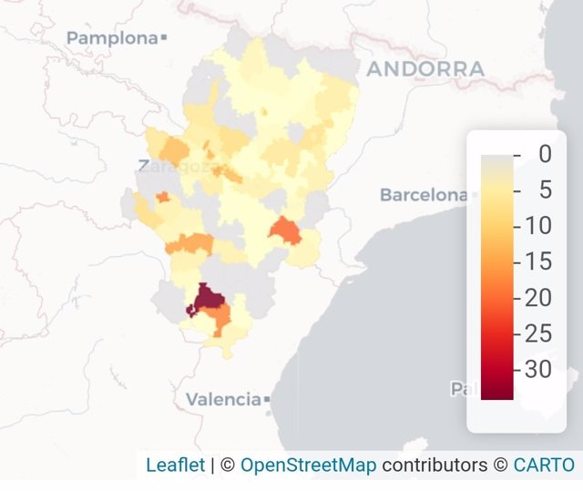 Datos provisionales de contagios de la COVID-19 en Aragón del 25 de enero.