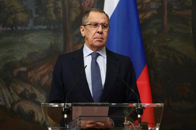 Sergei Lavrov, ministro de Exteriores de Rusia, en una comparecencia en Moscú