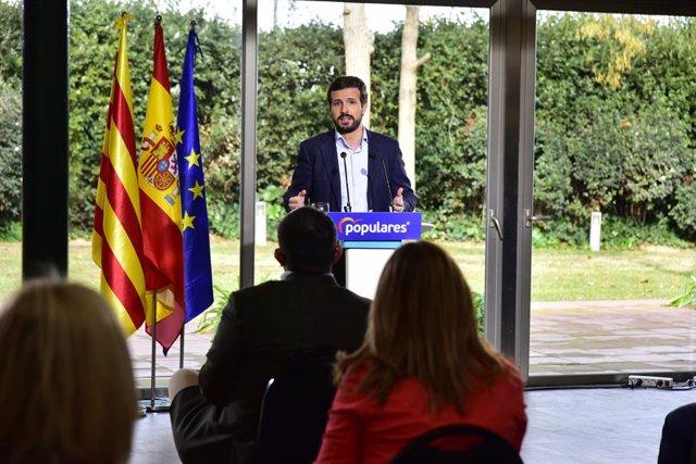 El líder del PP, Pablo Casado, intervé en l'acte de presentació de la candidatura del PPC a les properes eleccions catalanes. Catalunya, (Espanya), 23 de gener del 2021.