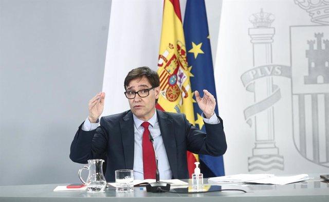 El ministro de Sanidad, Salvador Illa, durante una rueda de prensa posterior al Consejo de Ministros, en la Moncloa, Madrid, (España), a 26 de enero de 2021. La rueda de prensa estará marcada por su intervención tras participar este martes en su último Co