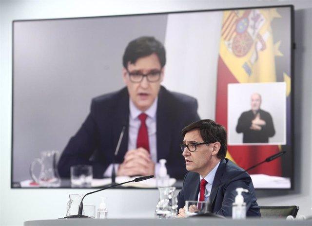El ministro de Sanidad, Salvador Illa, durante una rueda de prensa posterior al Consejo de Ministros, en el Palacio de la Moncloa.