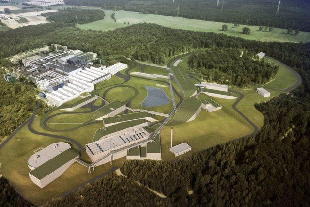 Visualización de la futura instalación del acelerador FAIR.