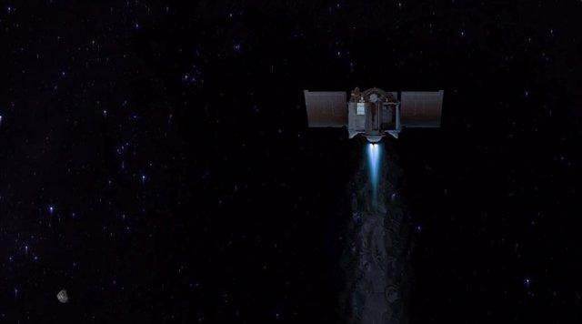 Esta ilustración muestra la nave espacial OSIRIS-REx partiendo del asteroide Bennu para comenzar su viaje de dos años de regreso a la Tierra.