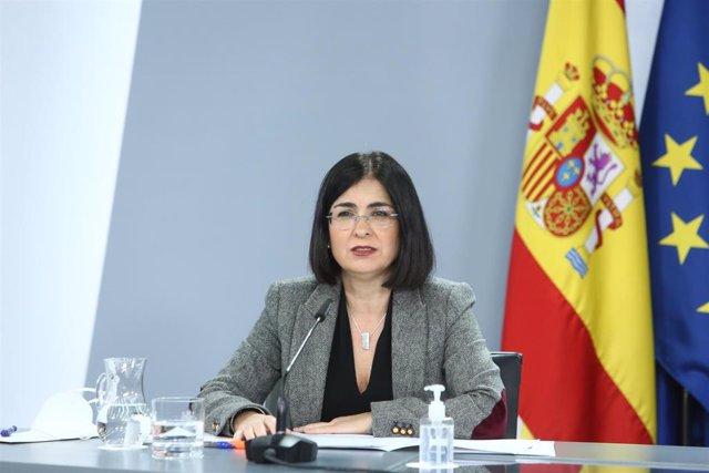 La ministra de Política Territorial y Función Pública, Carolina Darias, ofrece una rueda de prensa tras la reunión del Consejo Interterritorial del Sistema Nacional de Salud, en Madrid (España), a 28 de diciembre de 2020.