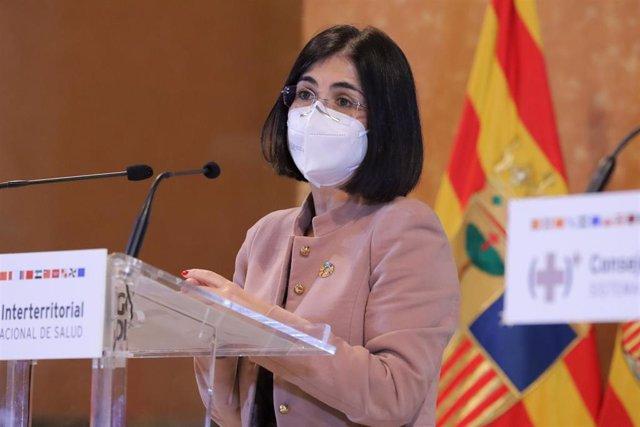La ministra de Política Territorial y Función Pública, Carolina Darias, ofrece una rueda de prensa tras el Consejo Interterritorial  del Sistema Nacional de Salud (SNS), en Zaragoza (España), a 9 de diciembre de 2020.