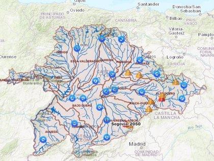 CHD tiene activos nueve avisos por crecidas en ríos de Burgos, Segovia y Soria