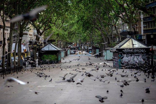 La Rambla de Barcelona clareja buida un dia marcat per la festivitat de Sant Jordi, que a diferència d'altres anys, aquest no es pot celebrar amb normalitat a causa de la crisi del Covid-19