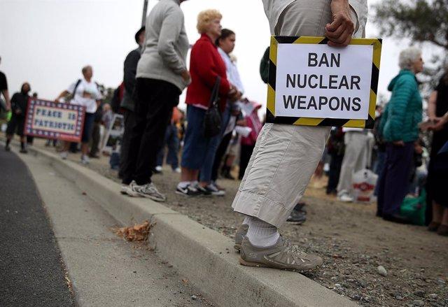 Protestas contra las armas nucleares en California.