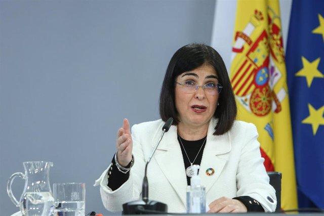 La ministra de Política Territorial, Carolina Darias, en rueda de prensa tras la reunión del Consejo Interterritorial del Sistema Nacional de Salud, en Madrid (España), a 4 de enero de 2021.