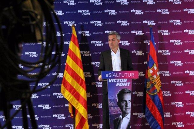 El candidato a las elecciones del FC Barcelona Víctor Font en rueda de prensa el 14 de enero de 2021