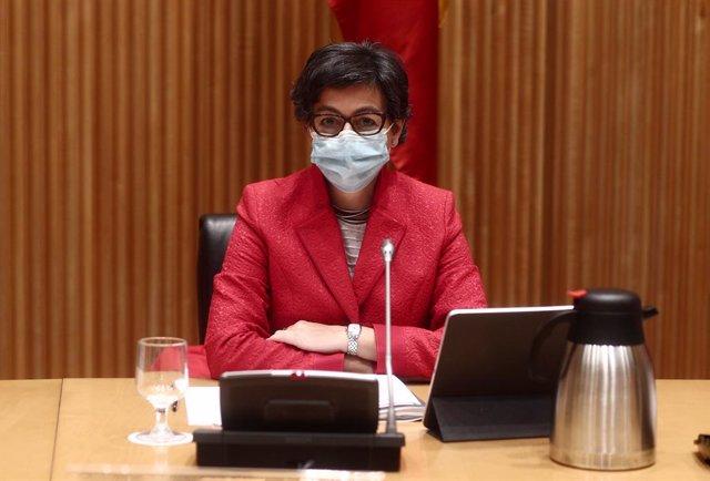 La Ministra de Asuntos Exteriores, Unión Europea y Cooperación, Arancha González Laya, durante una Comisión Mixta para la Unión Europea en el Congreso de los Diputados para informar sobre el principio de acuerdo entre España y el Reino Unido sobre Gibralt