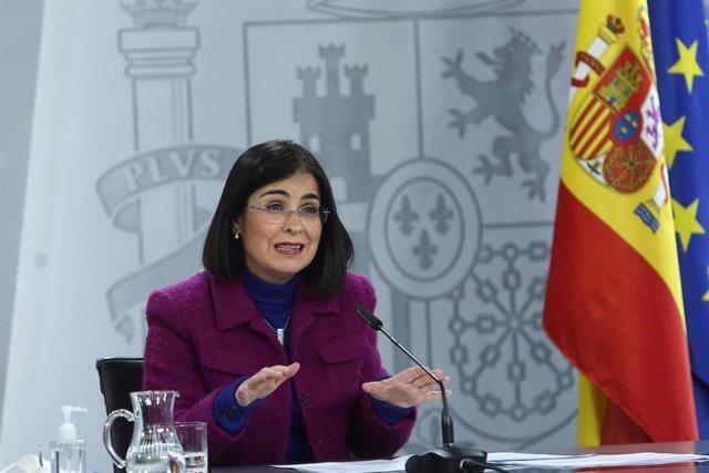 La ministra de Política Territorial y Función Pública, Carolina Darias, comparece en rueda de prensa, tras la reunión del Consejo Interterritorial del Sistema Nacional de Salud, en Moncloa, Madrid (España), a 13 de enero de 2021.