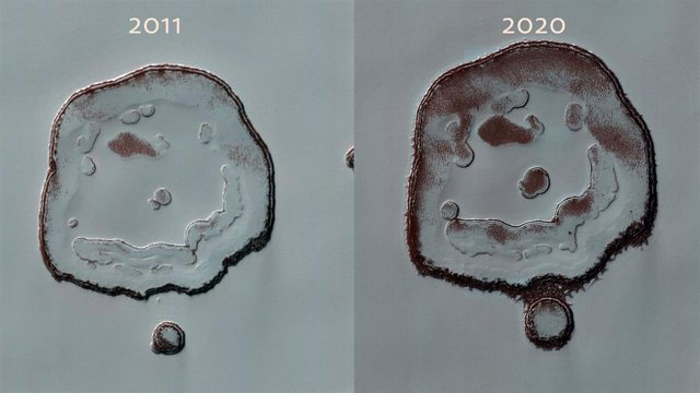 Cambios en el 'Happy Face Crater' de Marte