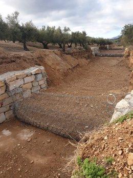 Barranc de Matamoros a Roquetes (Tarragona) després de les tasques d'estabilització de la llera