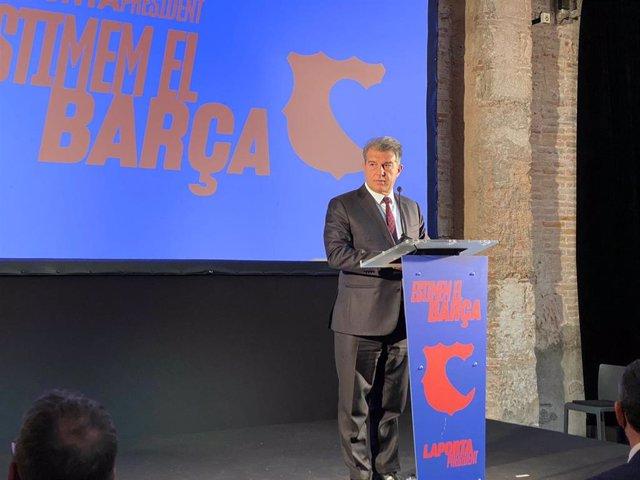 El candidato a la presidencia del FC Barcelona Joan Laporta en un acto de 'Estimem el Barça', el 27 de enero de 2021