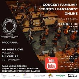 Cartel promocional del concierto de la Orquesta Sinfónica de Baleares 'Cuentos y fantasías'.