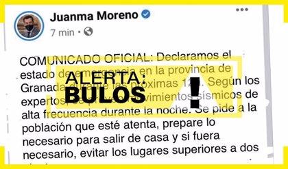 La Junta alerta de un bulo con un falso tuit de Moreno declarando el estado de emergencia en Granada por los terremotos
