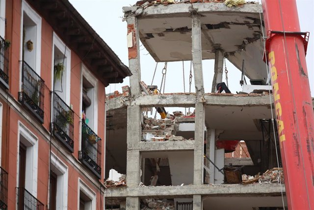Plantas del edificio que el pasado miércoles sufrió una explosión, en la calle Toledo, Madrid, (España), a 23 de enero de 2021. El Ayuntamiento de Madrid prevé que los trabajos de desmontaje del edificio donde se causó una explosión durarán al menos dos s