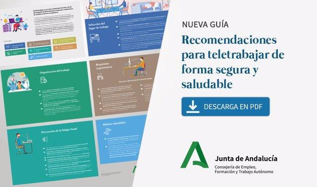 Imagen de la guía de recomendaciones para el teletrabajo de la Consejería de Empleo.