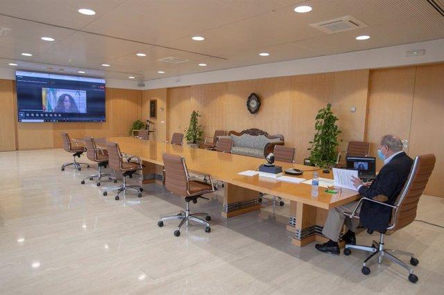 Videoconferencia entre la Junta de Andalucía y la FAMP sobre la subida del precio/hora de la ayuda a domicilio y su financiación