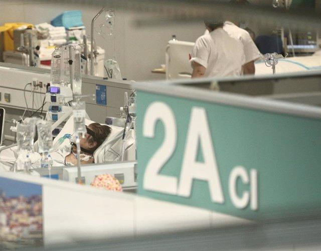 Enfermos en la Unidad 2A del Hospital de Emergencias Isabel Zendal, Madrid (España), a 20 de enero de 2021. El hospital, inaugurado el pasado 1 de diciembre, ha superado ya los 801 pacientes de COVID-19 y los ingresados en la Unidad de Cuidados Intensivos