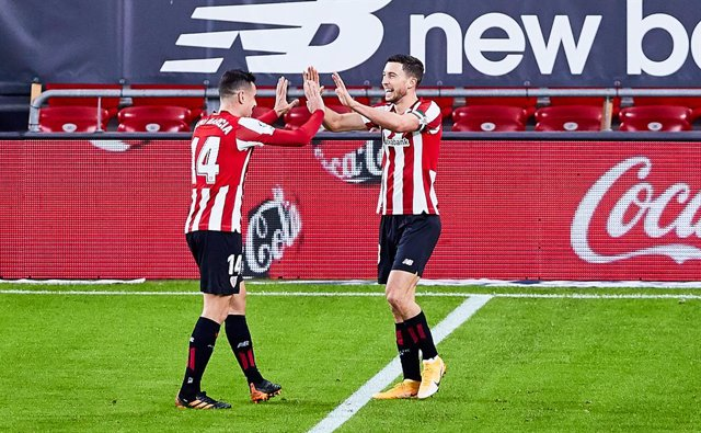 Oscar De Marcos of Athletic Club celebrating his goal during the Spanish league, La Liga Santander, football match played between Athletic Club and Getafe CF at San Mames stadium on January 25, 2021 in Bilbao, Spain.