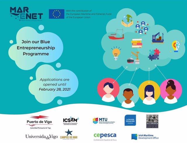 Cartel del Blue Entrepreneurship Programme, puesto en marcha por el proyecto europeo de la UVigo MarENet