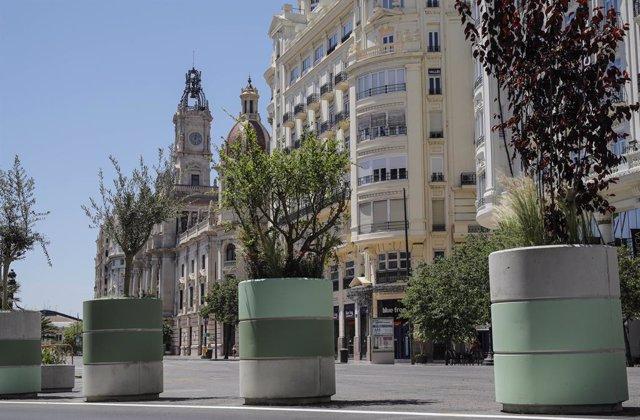 """Maceters col·locats en la Plaça de l'Ajuntament de València, una obra que ha suscitat dubtes i ha portat al PP València a la contractació del """"disseny tàctic"""" de la plaça a l'Agencia Antifrau i estudia portar-ho a Fiscalia ja que indiquen que s'adjudi"""