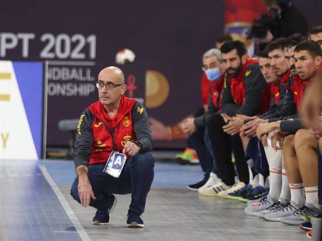 Jordi Ribera durante un partido de España en el Mundial de Egipto