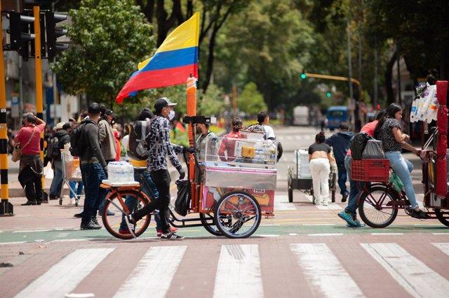 Marcha indígena a su paso por Bogotá el pasado mes de octubre.