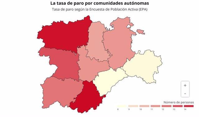Mapa sobre la tasa de paro EPA en cada provincia