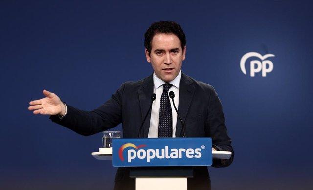 El secretari general del PP, Teodoro García Egea, en una conferència de premsa. Madrid (Espanya), 14 de desembre del 2020.