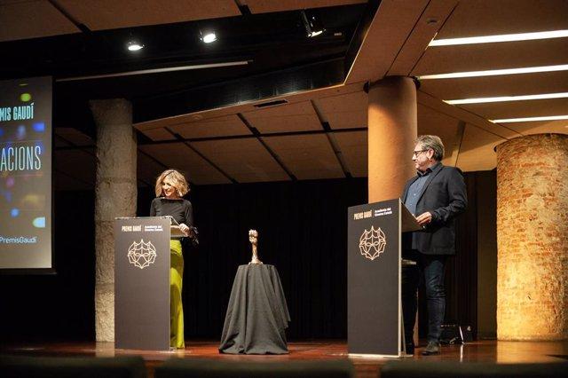 Lectura de nominados de los Premis Gaudí, con Aina Clotet y Sergi López