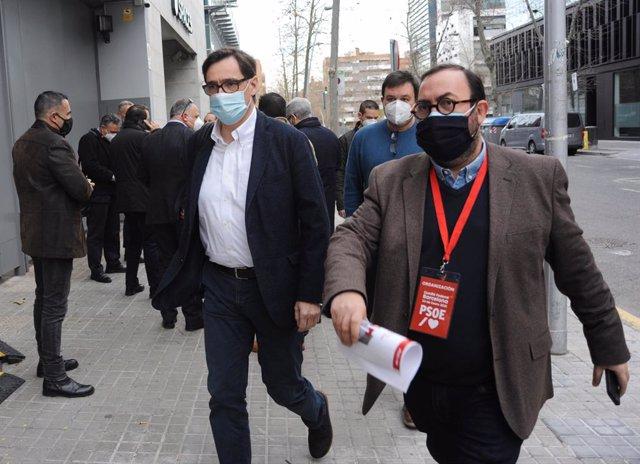 El candidat del PSC a la presidència de la Generalitat, Salvador Illa, arribada al Comitè Federal del PSOE. Catalunya (Espanya), 23 de gener del 2021.