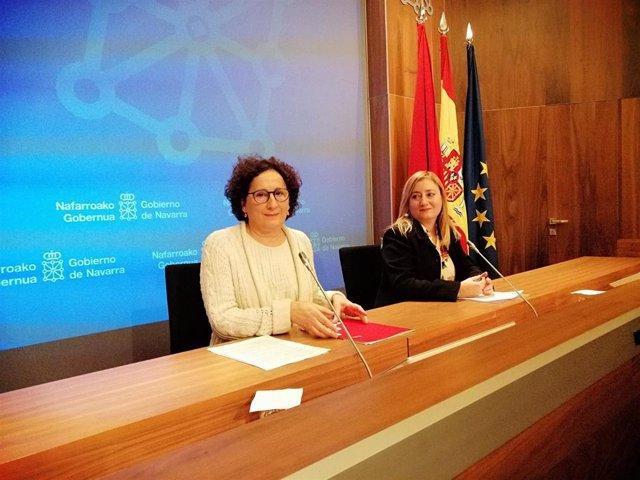 Foto de archivo de la consejera de Derechos Sociales del Gobierno foral, Mari Carmen Maeztu; y la directora gerente del SNE, Miriam Martón.