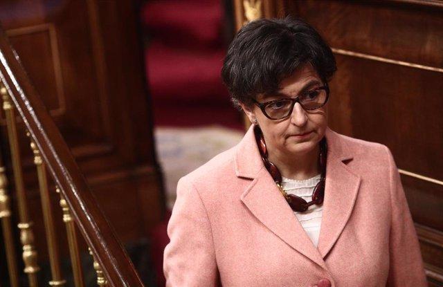 La ministra de Asuntos Exteriores, UE y Cooperación, Arancha González Laya, durante una sesión plenaria celebrada en el Congreso de los Diputados