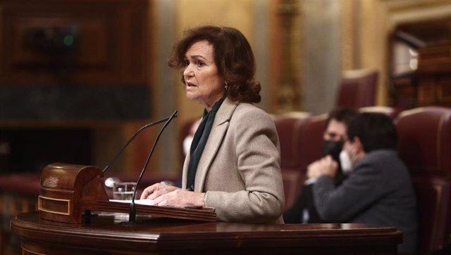 La vicepresidenta primera del Gobierno y ministra de la Presidencia, Relaciones con las Cortes y Memoria Democrática, Carmen Calvo, en el Congreso
