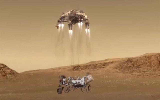 Últimos metros de Perseverance en su llegada a Marte