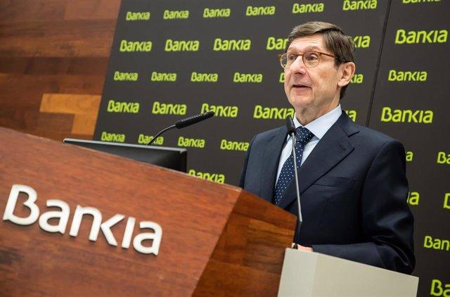 El presidente de Bankia, José Ignacio Goirigolzarri, en la presentación de resultados de 2020.