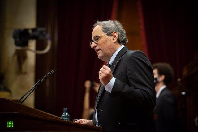 L'expresident de la Generalitat Quim Torra durant una sessió al Parlament. Catalunya (Espanya), 30 de setembre del 2020.
