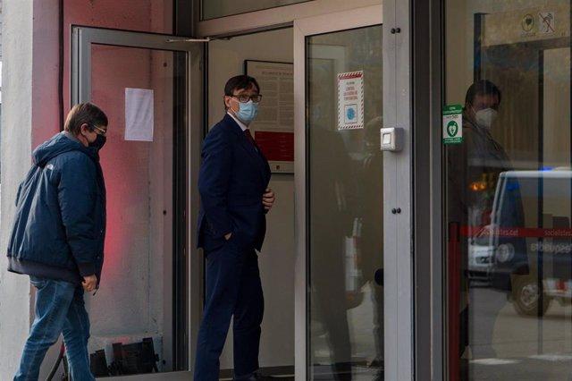El candidato del PSC a la presidencia de la Generalitat, Salvador Illa, llega a la sede del PSC para participar en el acto de inicio de campaña de las elecciones del 14-F, en Barcelona, Catalunya (España), a 28 de enero de 2021.