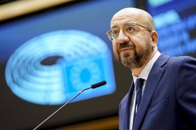 HANDOUT - 20 January 2021, Belgium, Brussels: President of the European Council Charles Michel speaks during a plenary session of the European Parliament which focused on the inauguration of the new US President Joe Biden and the presentation of the progr