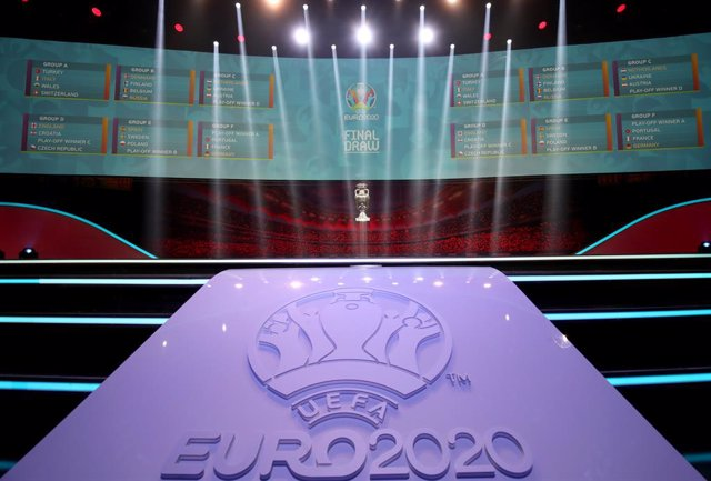 FILED - 30 November 2019, Romania, Bucharest: A general view of the UEFA EURO 2020 Group Stage draw. Starting from Wednesday, German football fans can buy tickets to see their national team play in the Euro 2020 finals, with ticket distribution to be hand
