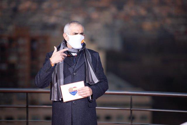 El candidat de Cs a la presidència de la Generalitat, Carlos Carrizosa, en l'acte incial de campanya per al 14-F