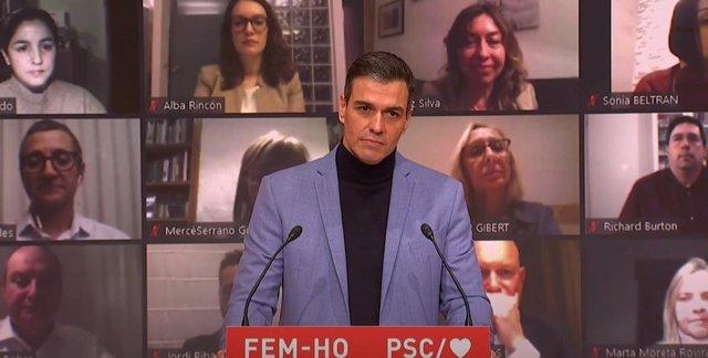 El presidente del Gobierno central, Pedro Sánchez, en el acto de inicio de campaña del PSC para el 14F