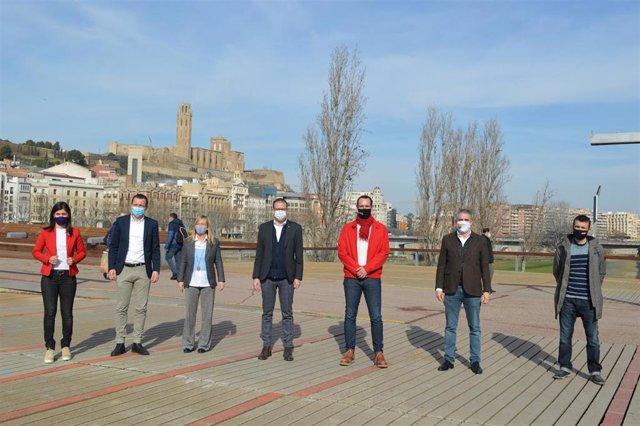 Els candidats Marta Vilalta, Óscar Ordeig, Marisa Xandri, Marc Solsona, Jaume Moya, Jorge Soler i Pau Juvillà