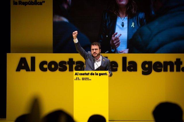El vicepresident de la Generalitat en funcions i candidat d'ERC, Pere Aragonès, en el míting d'inici de campanya d'ERC.