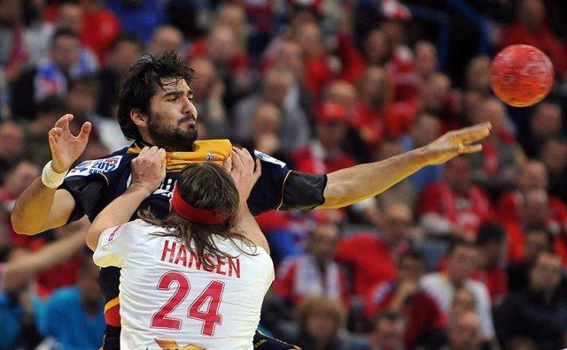 Acción de un España-Dinamarca del Europeo de 2012 de Balonmano